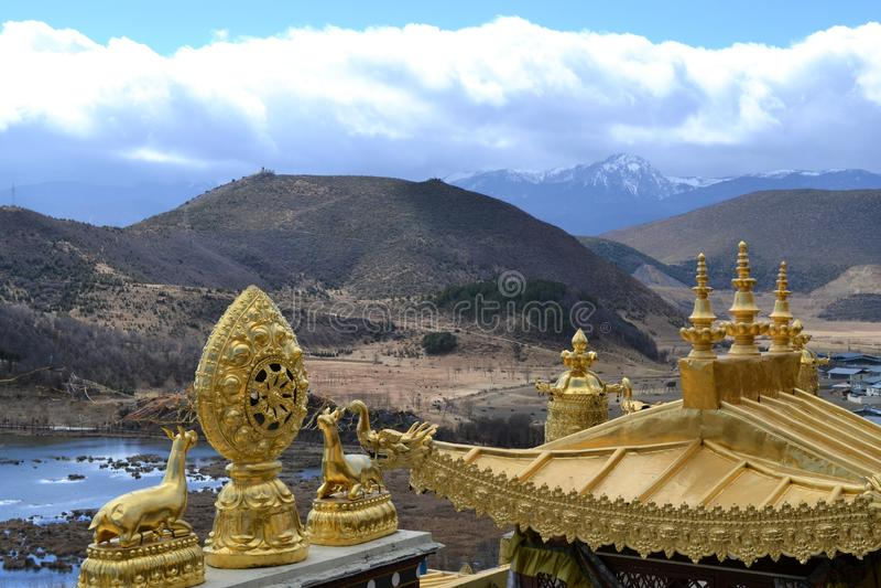 Songzanlin Tybetański Buddyjski monaster, Shangri los angeles, Xianggelila, Yunnan prowincja, Chiny fotografia stock