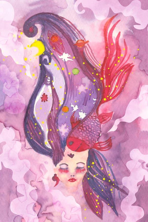Sonhando a cara da mulher com cabelo surreal ilustração stock