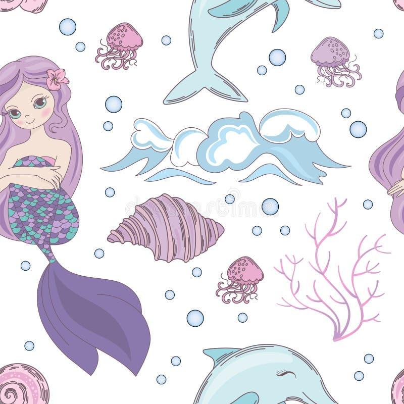 SONHANDO a ilustração sem emenda do vetor do teste padrão do oceano da SEREIA ilustração royalty free