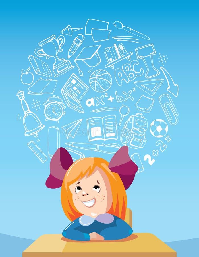 Sonhando a menina da escola na mesa ilustração stock