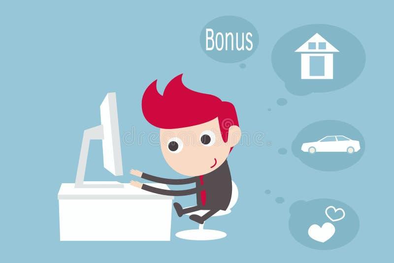 Sonhando o homem ao trabalhar no computador portátil ilustração royalty free