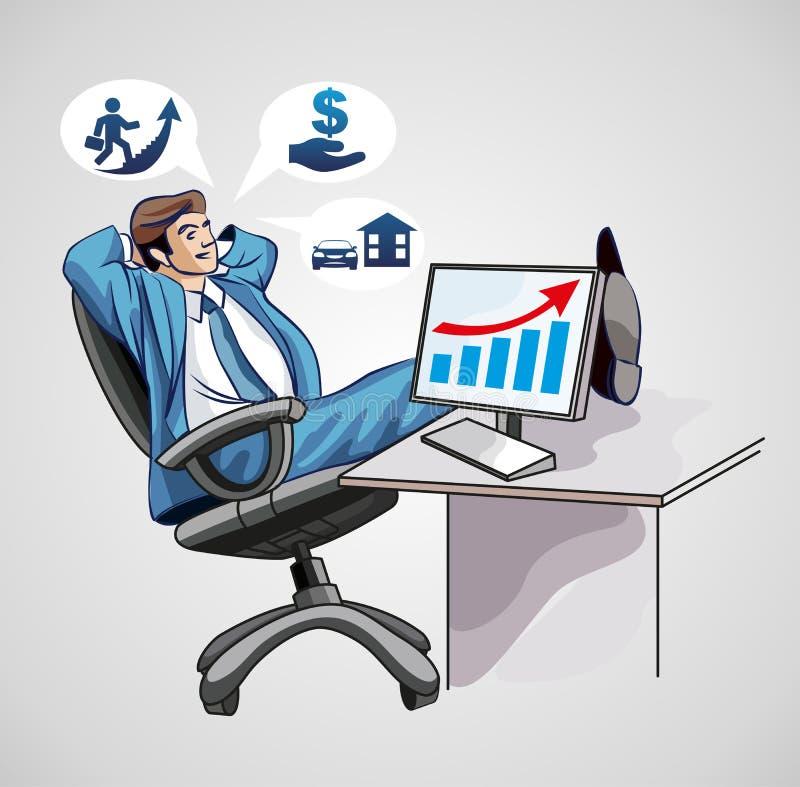 Sonhando o homem de negócios no computador imagem de stock