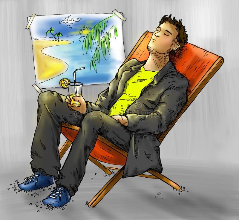 Sonhando o trabalhador de escritório ilustração do vetor