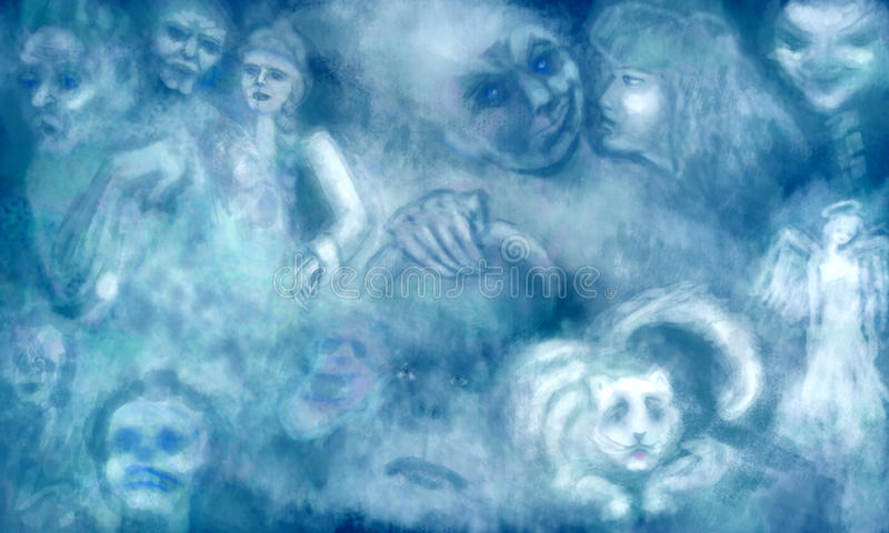 Sonho com fantasmas ilustração do vetor