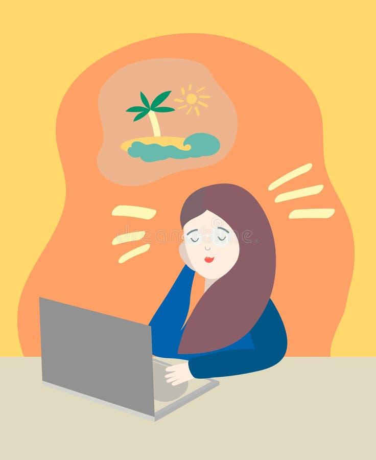 Sonho da jovem mulher sobre férias no escritório próximo com caderno co ilustração do vetor