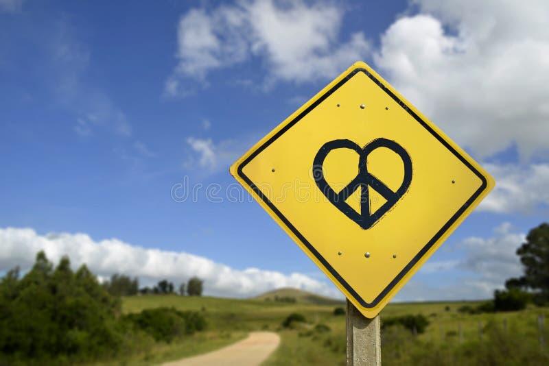 Sonho do conceito do ícone do sinal de estrada da paz e do amor imagem de stock