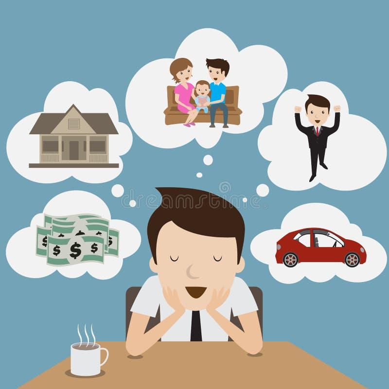 Sonho do homem de negócios. ilustração royalty free