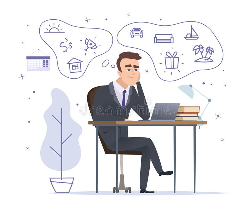 Sonho do homem de negócios Gestor de escritório bem sucedido que senta-se e que pensa sobre o carro da casa e os desenhos animado ilustração do vetor