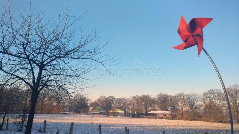 Sonho dourado do inverno de Sun do cartão vermelho do moinho de vento fotografia de stock