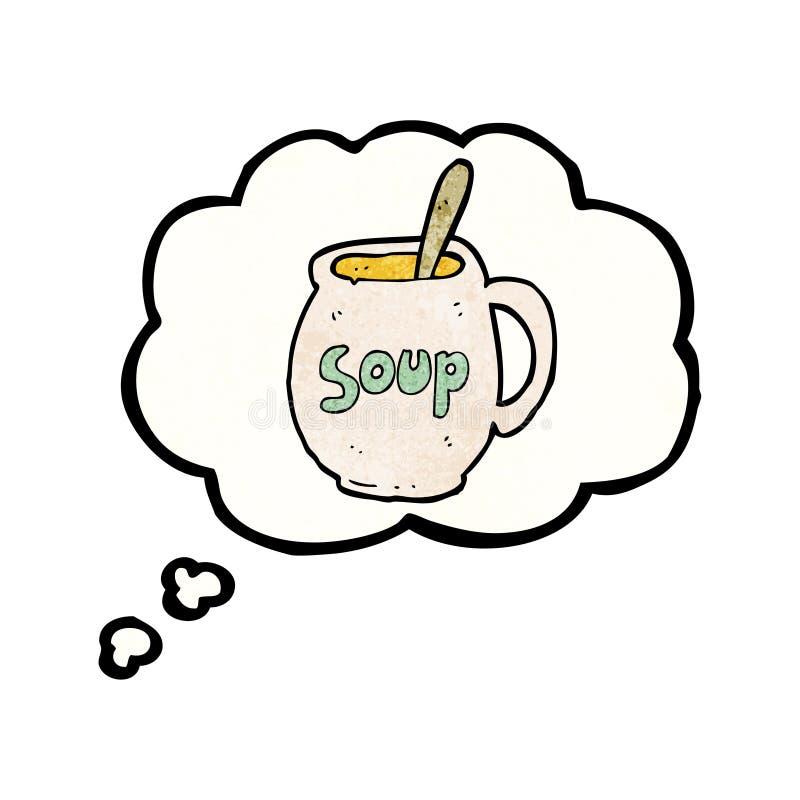 sonho sobre desenhos animados da sopa ilustração stock