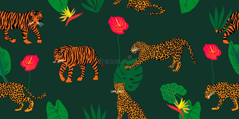 Sonhos da selva Cópia animal com motivos étnicos ilustração do vetor