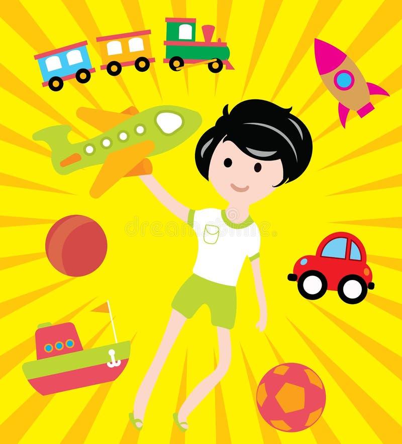 Sonhos das crianças com muitos brinquedos e transporte ilustração royalty free