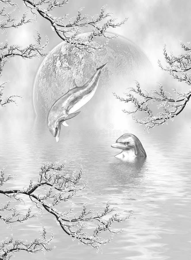 Sonhos de prata do golfinho ilustração stock