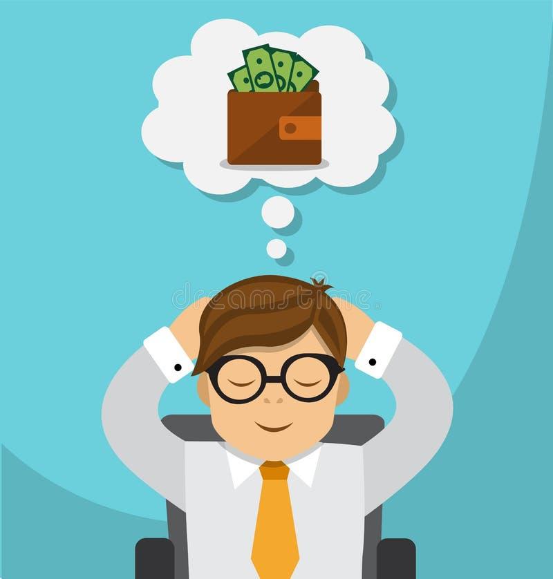 Sonhos do homem de negócios sobre o dinheiro ilustração royalty free
