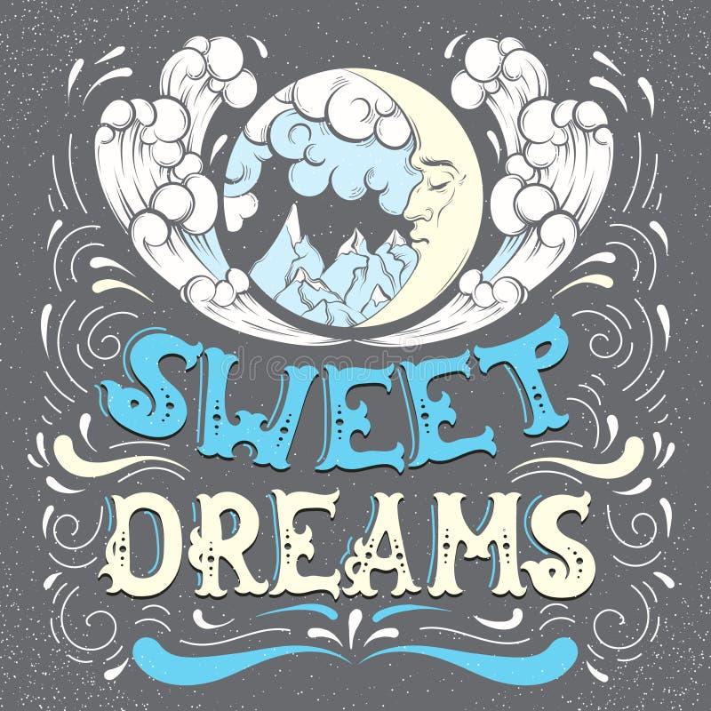 Sonhos doces Fundo tipográfico das citações ilustração royalty free