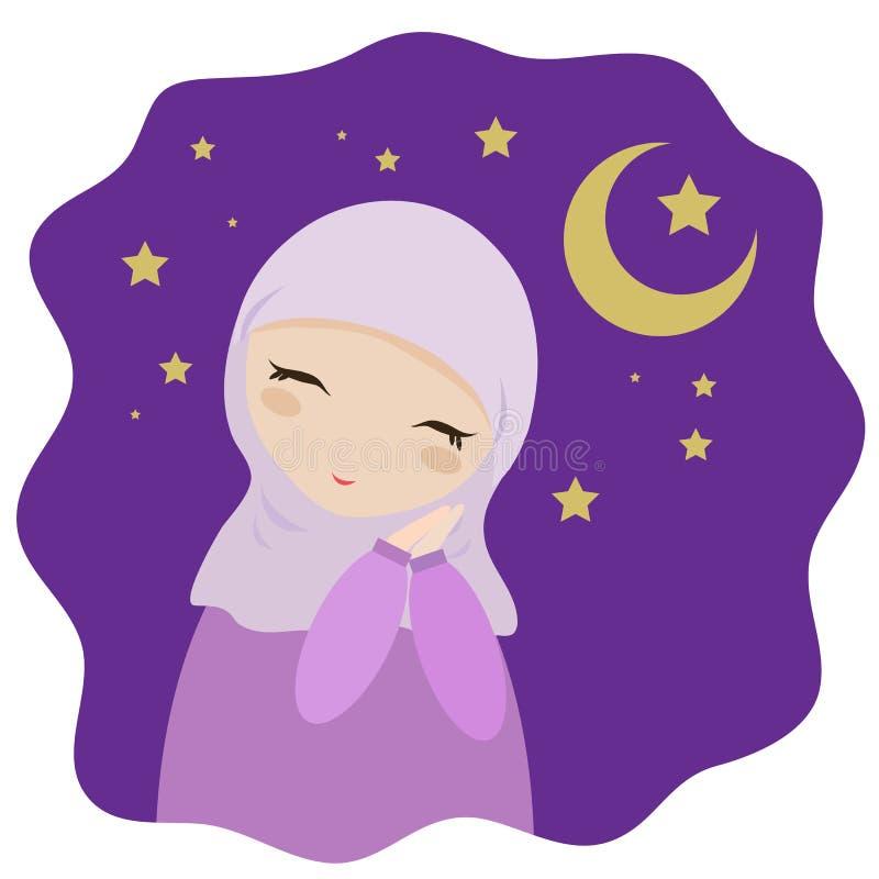 Sonhos muçulmanos da menina em um fundo roxo ilustração do vetor