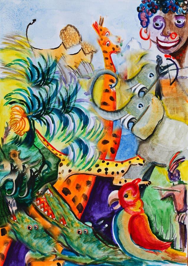 Sonhos sobre África ilustração stock