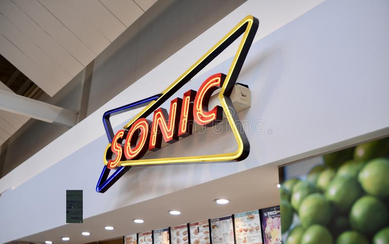 Sonic Restaurant Neon Sign photo libre de droits