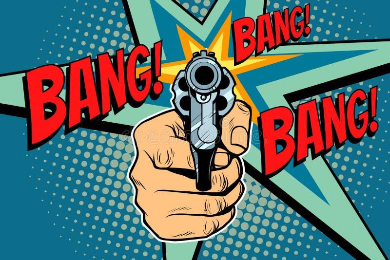 Sonido de la explosión de un revólver del tiro a disposición ilustración del vector