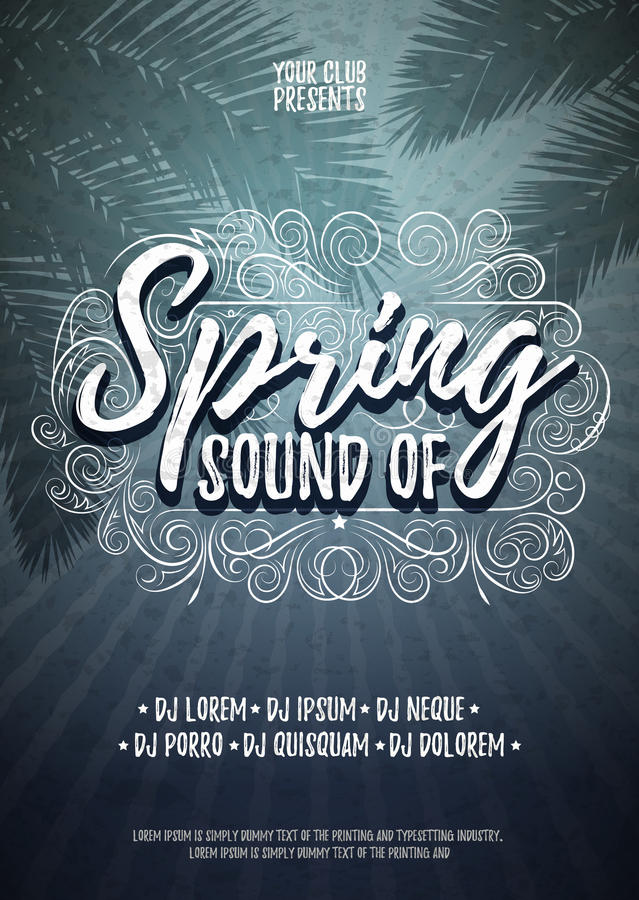 Sonido de la plantilla tipográfica del fondo del cartel o del aviador de la primavera Ejemplo del partido de la música del vector libre illustration