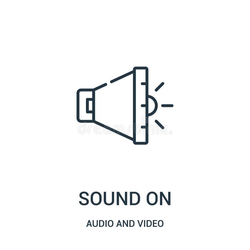 sonido en vector del icono de la colección audio y video Línea fina sonido en el ejemplo del vector del icono del esquema libre illustration