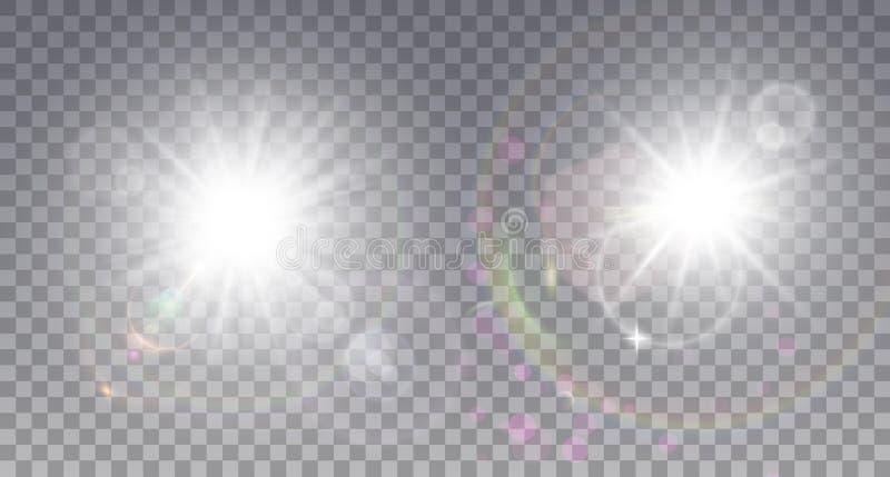 Sonne mit zwei Weiß mit Blendenfleck lizenzfreie abbildung