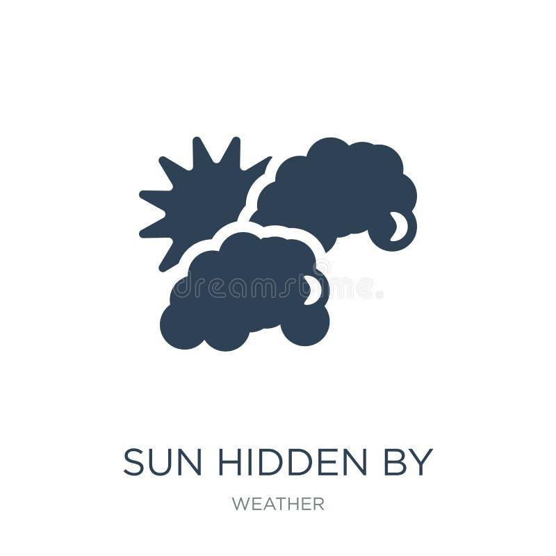 Sonne versteckt durch Wolkenikone in der modischen Entwurfsart Sonne versteckt durch die Wolkenikone lokalisiert auf weißem Hinte lizenzfreie abbildung