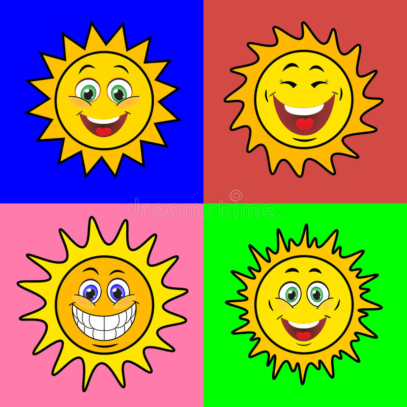 Sonnen mit Lächeln lizenzfreie abbildung