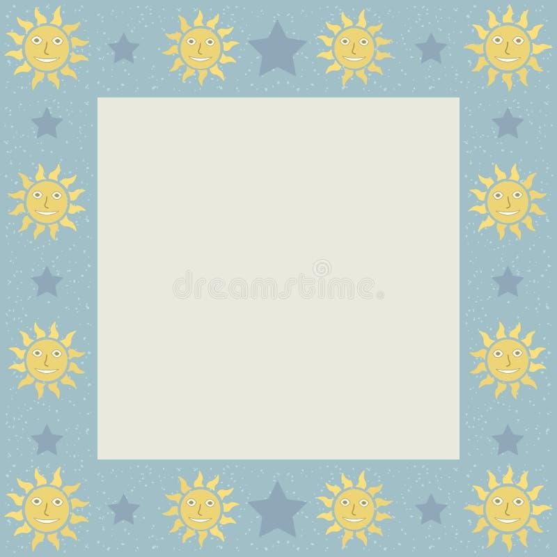 Sonnen Mit Stern-quadratischem Rahmen Vektor Abbildung ...