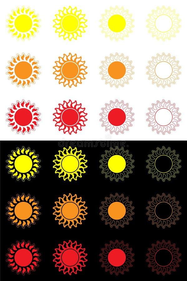 Sonnen oder Vielzahl von Bildern der Sonne, sonniges Logo, Ikone, Aufkleber lizenzfreie abbildung