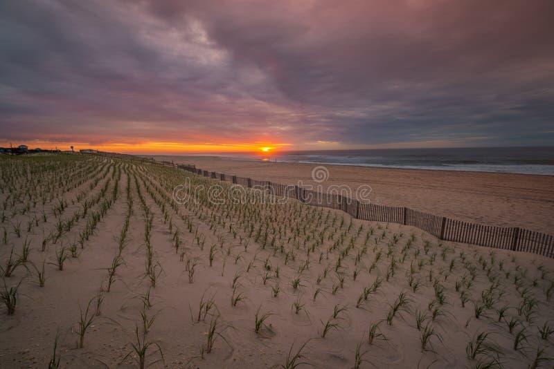 Sonnenaufgang über dem Atlantik mit Zaun und Strand lizenzfreie stockfotografie