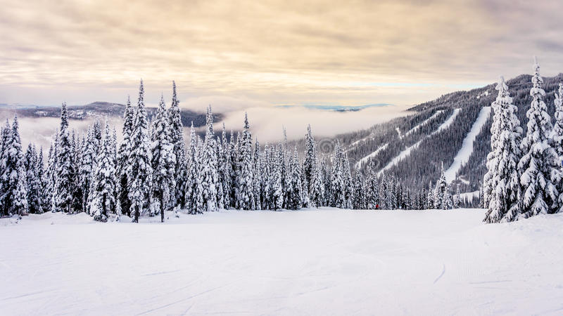 Sonnenaufgang über den Skipisten beim Sun ragt empor lizenzfreie stockfotos