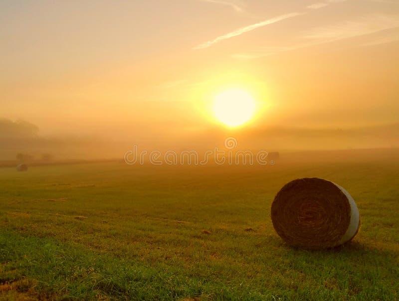 Sonnenaufgang über einem Landwirtfeld mit Heuballen stockfoto