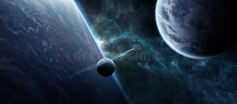 Sonnenaufgang über entferntem Planetensystem im Wiedergabeelement des Raumes 3D lizenzfreie abbildung