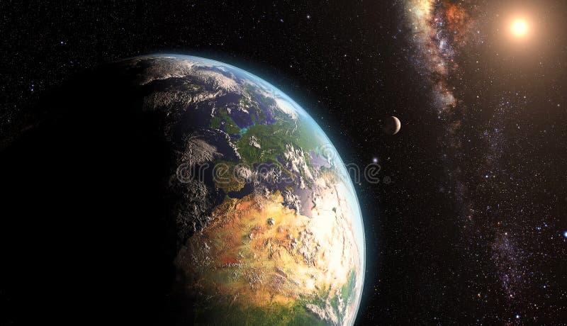 Sonnenaufgang über Erde mit Mond stockfotos