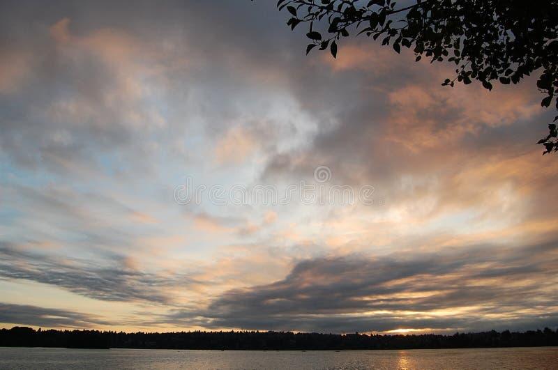 Sonnenaufgang über grünem See Seattle, Washington stockbilder