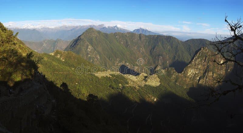 Sonnenaufgang über Machu Picchu stockfotografie
