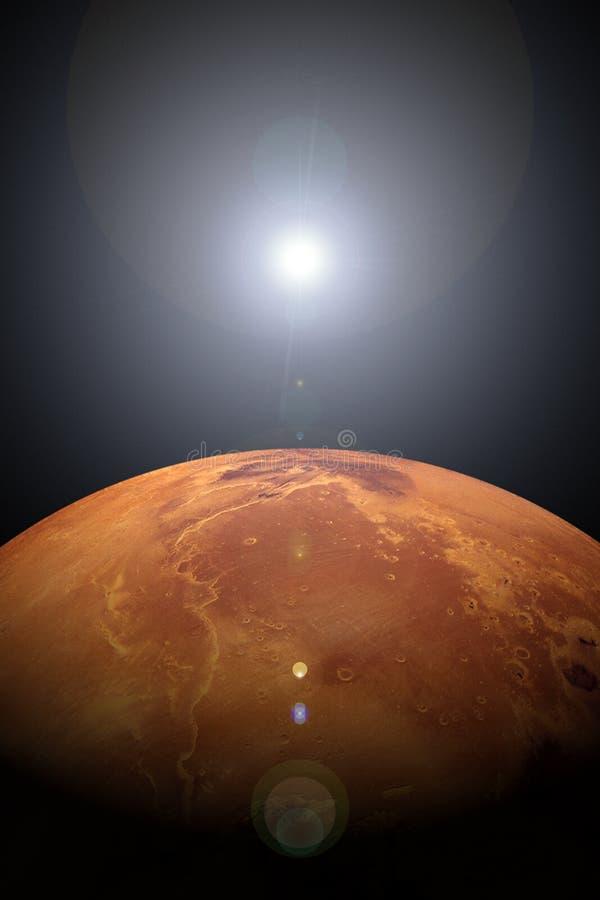 Sonnenaufgang über Mars stock abbildung
