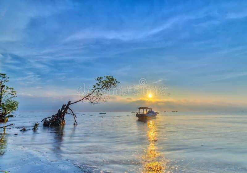 Sonnenaufgang über Meer gehen Cong, Tien Giang, Vietnam stockbild