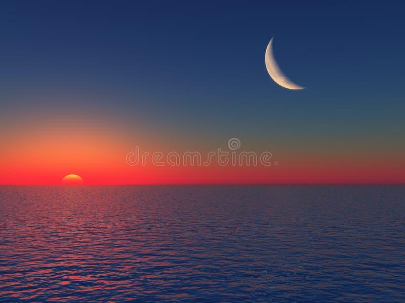 Sonnenaufgang über Meer mit Mond lizenzfreie abbildung