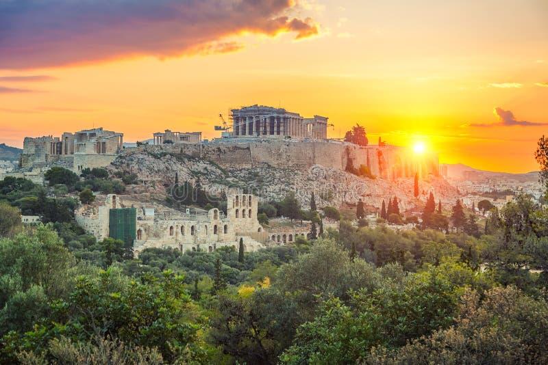 Sonnenaufgang über Parthenon, Akropolis von Athen, Griechenland lizenzfreie stockbilder