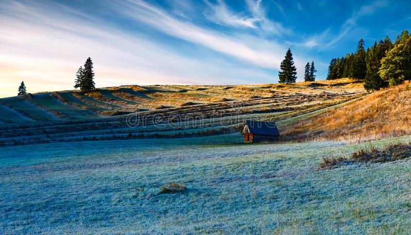 Sonnenaufgang über terassenförmig angelegten Feldern lizenzfreie stockfotos