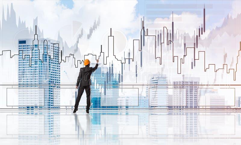 Sonnenaufgang über Wolkenkratzern und Ingenieur im Sturzhelmzeichnungs-Globalisierungskonzept stock abbildung