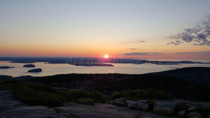 Sonnenaufgang auf Cadillac-Berg stockfoto