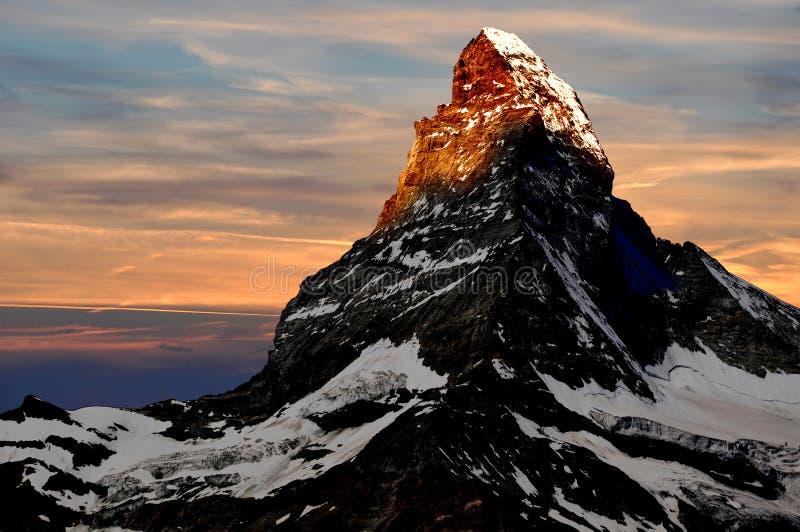 Sonnenaufgang auf dem Matterhorn stockfotografie
