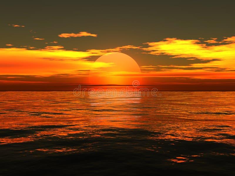 Sonnenaufgang auf Meer lizenzfreie abbildung