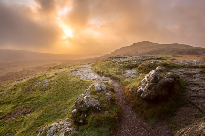 Sonnenaufgang auf Nationalpark Devon Großbritannien Sattelfelsen Dartmoor stockfotografie