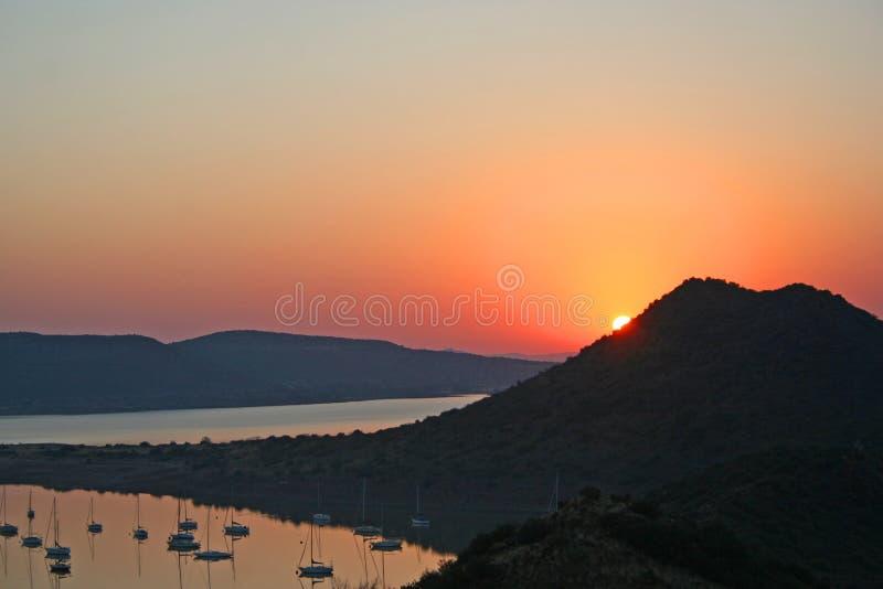 Sonnenaufgang bei Gariep stockfotos