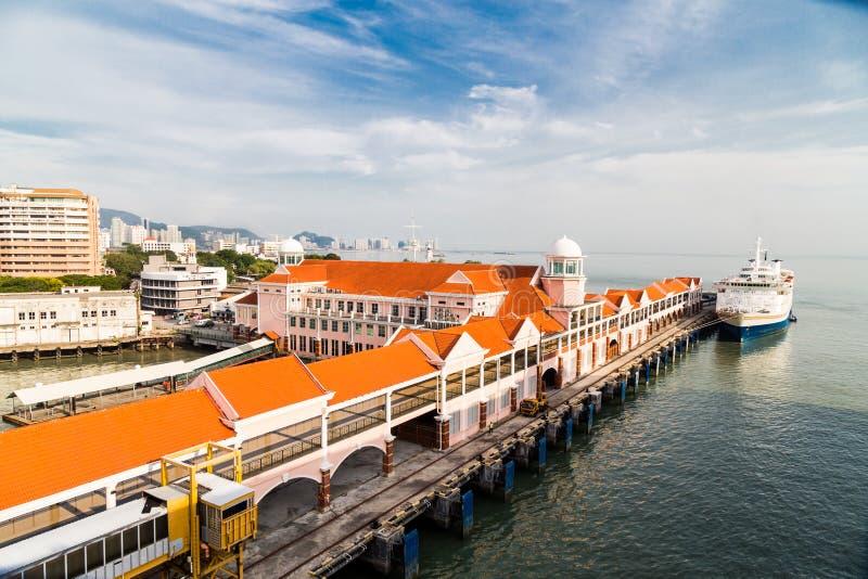 Sonnenaufgang bei Swettenham Pier Cruise Terminal, Penang-Insel stockbilder