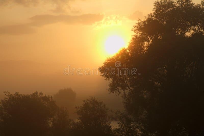 Sonnenaufgang in BiaÅ-'y Dunajec polen stockfotos